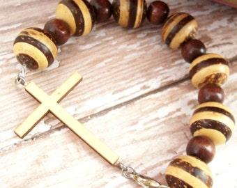 Wood Cross Bracelet, Christian Jewelry, Christian Bracelet, Cross Bracelet W/ Wood Beads, Wood Cross Pendant, Wooden Bracelet,