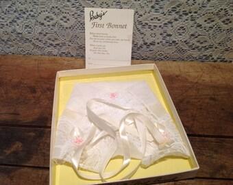 Vintage Go Baby Go Baby Bonnet Handkerchief Japan