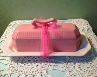 Ironstone Interpace Japan Pink Butter Dish