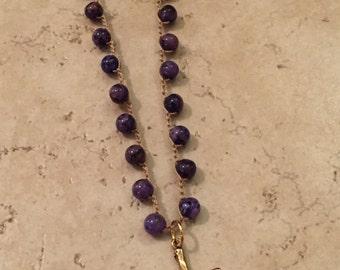 Purple Agate Boho Crochet Necklace with Brass Cross Pendant