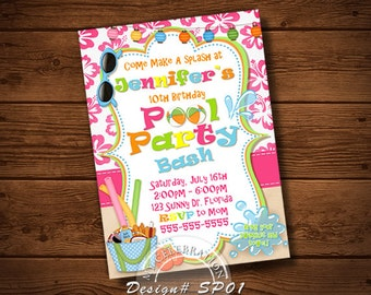 POOL PARTY INVITATION, Beach Invitation, Pool Party, Alua Invitation, Pool Bash, Birthday Invitation, Summer Party, Summer Birthday Invite