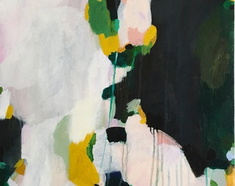 Kastel 18x24in Original Acrylic Abstract Painting on Canvas, green abstract, yellow painting