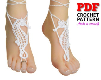 Barefoot Sandals | Crochet Pattern | Barefoot Sandals Pattern | Beach wedding | SEAHORSE