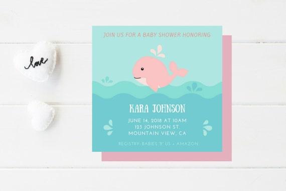Baby Shower Invitation I Nautical Baby Shower I Bold Colors I Whimsy I Simple I Cute I Whale I Beach Baby Shower