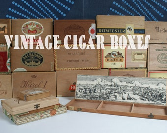Vintage cigar boxes, art supplies box, craft supplies box | Please sent mail first before you order