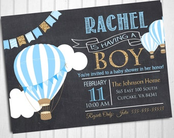 Hot Air Balloon Baby Shower Invitation, Blue Hot Air Balloon Baby Shower Invitation, Digital File 5x7 or 4x6, Balloon Baby Shower Invitation