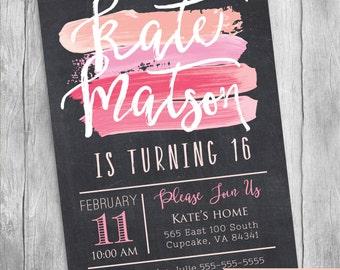 Paint Birthday Party Invitation Printable, 16 invitation, Pink Paint Invitation, 5x7 or 4x6, Chalkboard Style Birthday Invitation