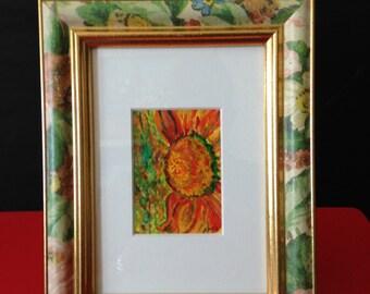 "Original Art, Watercolor ""Sunflower"", custom framed miniature painting, Sunflower ACEO."