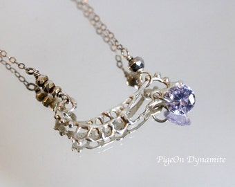 Sterling Silver Lace Necklace with Crystal-Statement Necklace, Dainty Silver Necklace, Crystal Pendant Necklace