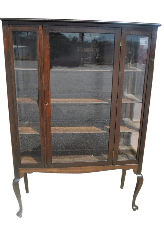 Antique Mahogany Queen Anne Style Display China Cabinet Ca