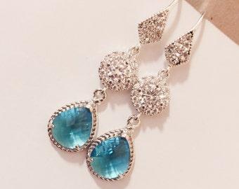 Light blue earrings,silver earrings,bridal or bridesmaid earrings gift,blue earrings,glass-crystal earrings-wedding gift,wedding jewelry