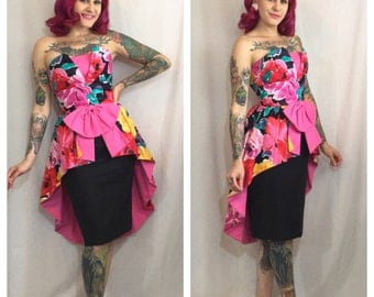 Vintage 1980's Floral Peplum Dress