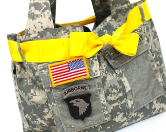 Army recycled uniform, ACU, tote bag, diaper bag, everything bag  MADE to ORDER