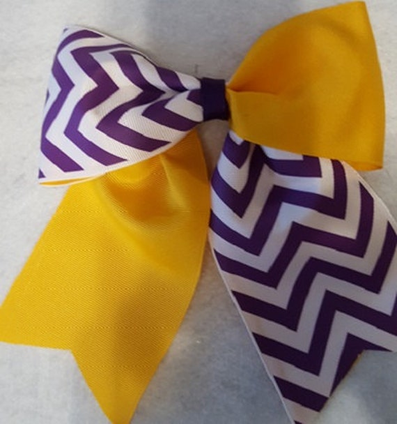 purple and white chevron print with solid yellow gold hairbow