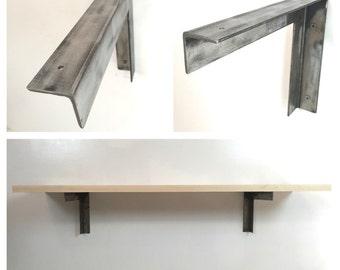 Steel Angle Shelf Brackets - Pair