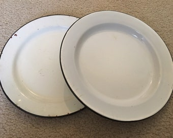Vintage Enamelware Plates (Set of 2)