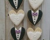 Wedding Gown Tuxedo Mini Custom Decorated Sugar Cookies
