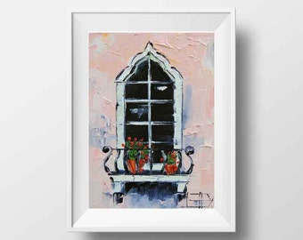 Moroccan Decor, Moroccan Art, Print, Middle Eastern, Textured, Window, Balcony, Flowers, Romantic, 8x10, Palette Knife, by Lisa Elley