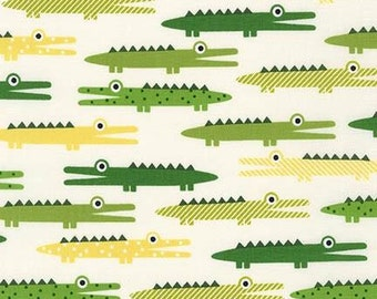 Alligator Fabric - Urban Zoologie by Ann Kelle - Robert Kaufman. Green Yellow Crocodile. 100% cotton. AAK-14722-15