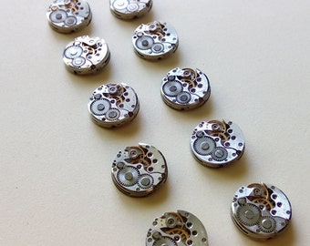 10% off sale17 Lot of 10 watch movements - 16 mm watch movement, Steampunk Supplies, Antique Watch Parts, Old Watch Supplies,watch movements