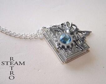 10% off sale17 Steampunk necklace, Steampunk book locket necklace butterfly locket - steampunk locket - silver locket aquamarine -