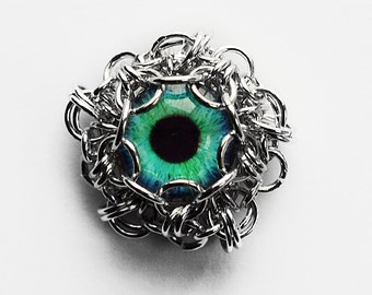 Handmade glass eye cabochon pendant -  Turquoise eye - jewelry supplies