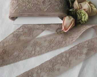 Beautiful Cafe Au Lait Antique French Alencon Lace (sold by the yard) Sewing, Crafts, Doll Dresses, Teddy Bear Clothes