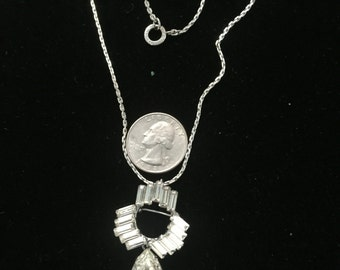 Art Deco sterling necklace and or pin with Swarovski crystal cut stones circa 1930s
