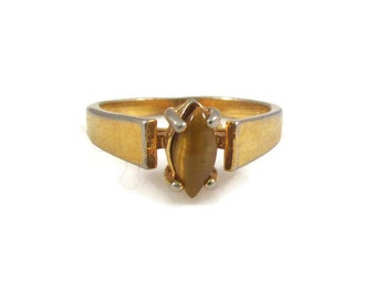 Marquise Cut Tiger's Eye and Gold Tone Solitaire Ring - Size 6.5