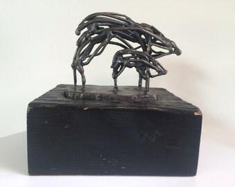 Brutalist Animal Figures Sculpture On A Wood Base