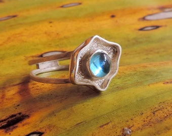 AZUL. Twin band Swiss Blue Topaz Ring Silver 9.50