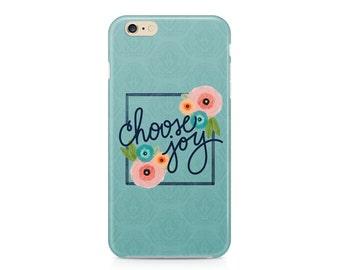 Choose Joy iPhone 7, Joyful Phone Case, Watercolor Floral Phone Case, Teal Phone Case, iPhone, Samsung Galaxy S8