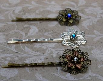 Ornate Metal Flower Hairpin