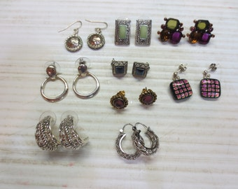 9 Great Pairs Of Pierced Earrings 6 Are Silver Tone