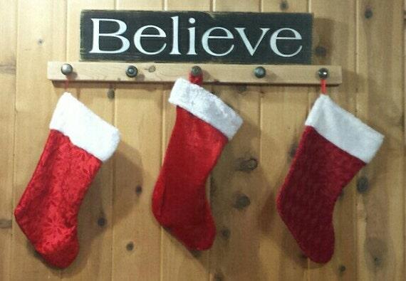 Believe christmas stocking holder decor black