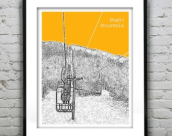 Magic Mountain Ski Vermont Skyline Poster Art Print VT