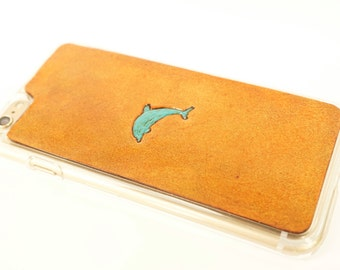 Leather iPhone 7 Plus Case | Turquoise Leaping Dolphin