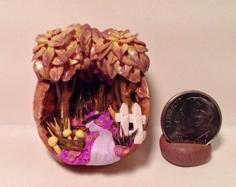 Miniature Yellow Tree Lined Path in the Woods diorama in a walnut shell