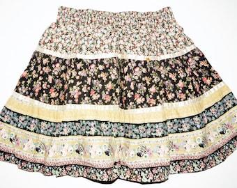 1970s Girls Peasant Skirt Sz 10-12 Vintage Retro Hippie