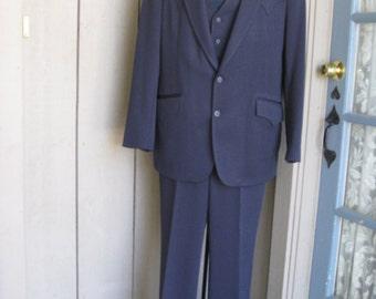 Vintage Men's Navy Blue 3 Piece Western Cut Suit/ The Westerner Mens Suit/ Western Vest/Slacks/Jacket/ Western Suit Size 42/ Slacks 37-30