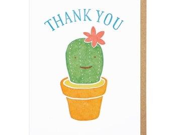 Thank You Cactus Letterpress Card