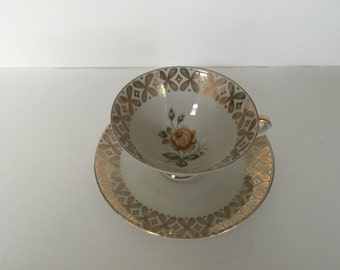 Vintage Winterling Tea Cup & Saucer  Yellow Rose with Gold Design TrimMarktleuthen Bavaria