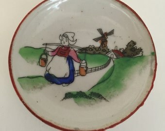 Vintage Dutch Girl Hand Painted Small Trinket Dish Japan