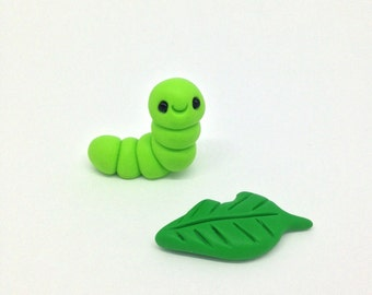 Polymer Clay Green Caterpillar & Leaf Figurine, Cute Little Clay Cute Kawaii Style Animal