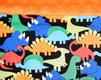 Nap Mat Cover / Toddler Cot Cover with Padded Minky Dot Headrest - Dinosaurs