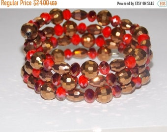 40%OFF Copper Czech Glass and Red Wrap Bracelet