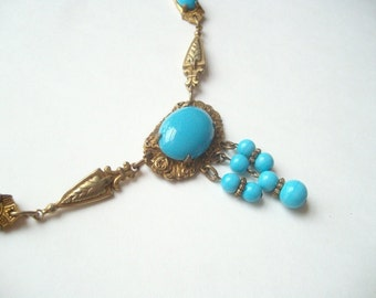 Vintage Art Deco turquoise glass necklace, brass and turquoise, brass linked, turquoise glass bead, light blue glass, turquoise fringe