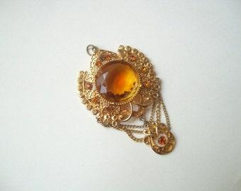 Vintage Czech glass pendant, large gold tone pendant, amber glass pendant, statement pendant, Czech pendant
