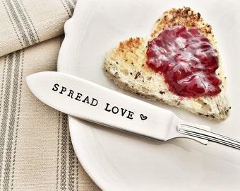 Spread Love. Hand Stamped Silver Plated Vintage Knife. Butter Spreader.
