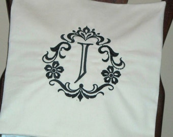 Pillow Cover-Damask Initial J Pillow Cover-Cotton Pillow Cover- Monogram Pillow Cover